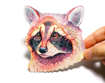 Raccoon wild animal sticker // SALE 3 for 2 // 100% waterproof vinyl label.