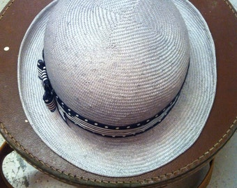 Handmade Straw Bowler Hat - made to order - choice of colour and band