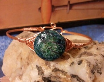 Hammered Copper Bracelet, Copper Bangle, Copper and Turquoise Bracelet, Boho Bracelet