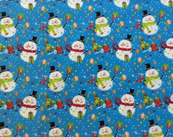 Snowmen Fabric by EA Nathan | fabric by the yard | winter fabric | quilt quality fabric | holiday fabric | novelty fabric | fabric for kids