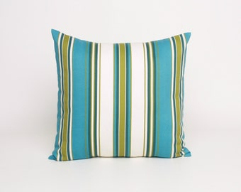 """Green and Blue Striped Throw Pillow Cover 16"""", 18"""", 20"""" or 22""""  Pillow Cover Olive Avocado Green Blue and Cream Cushion Cover"""