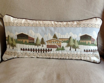 Chalet Chic Snowy Alpine Scene 12 x 24 Inch Cushion Cover