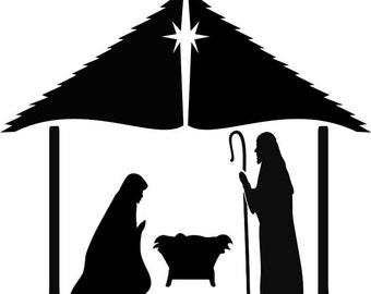 WW18  Nativity Scene Mary Jesus Joseph Stencil