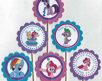 My Little Pony Personalized Cupcake Toppers Birthday Party Decorations Set of 12