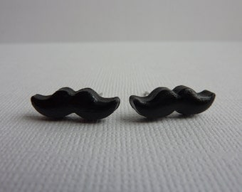 Black Mustache Stud Earrings, Polymer Clay Mustache Cabochons on Nickel Free Posts