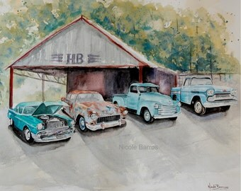 """Vintage, Chevy painting, Chevrolet Cars, Watercolour Painting, PRINT ,14""""x11"""", Car lovers, Vintage Cars, Man Cave Art. FREE Shipping"""