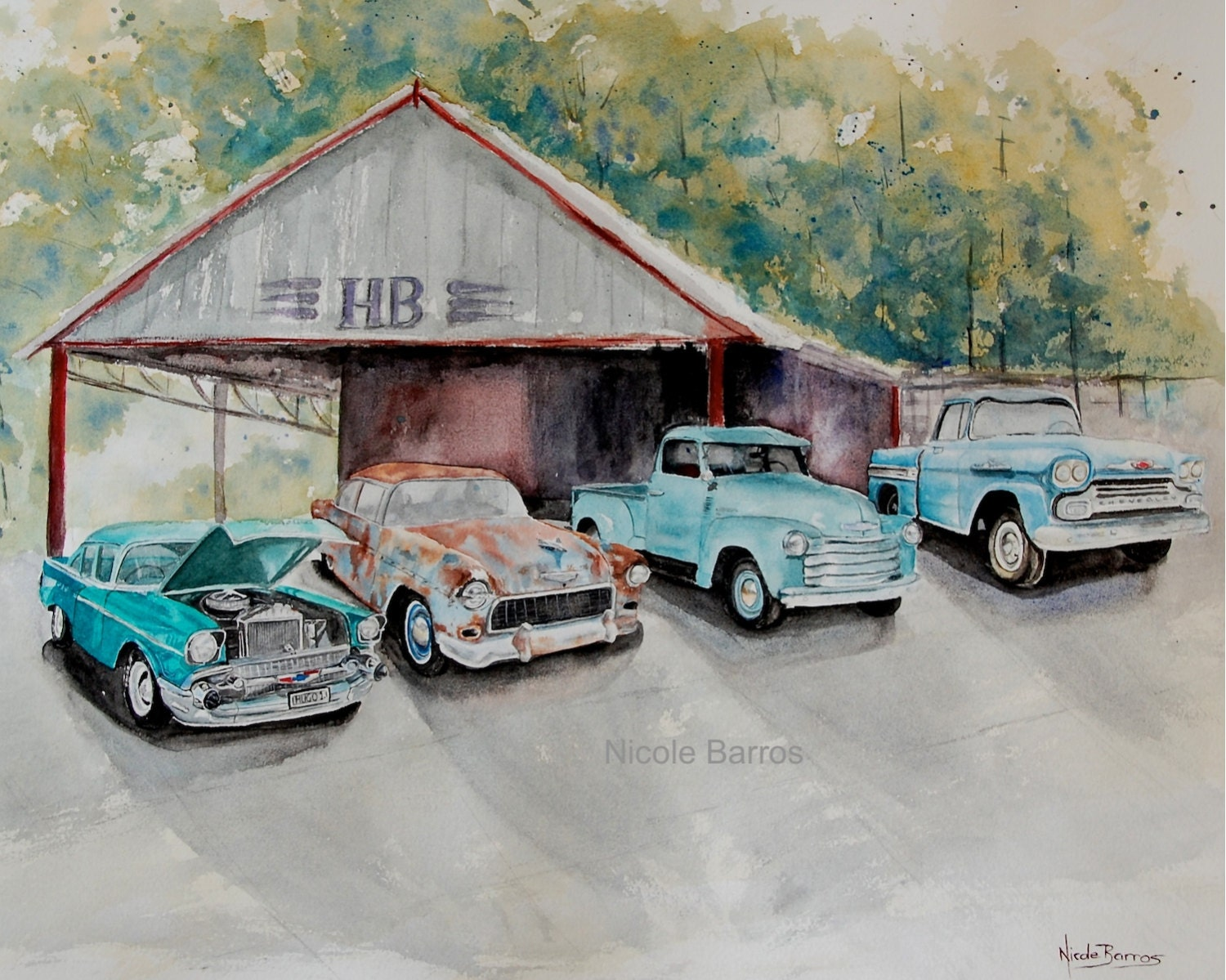 Man Cave Car Art : Vintage chevy painting chevrolet cars watercolour
