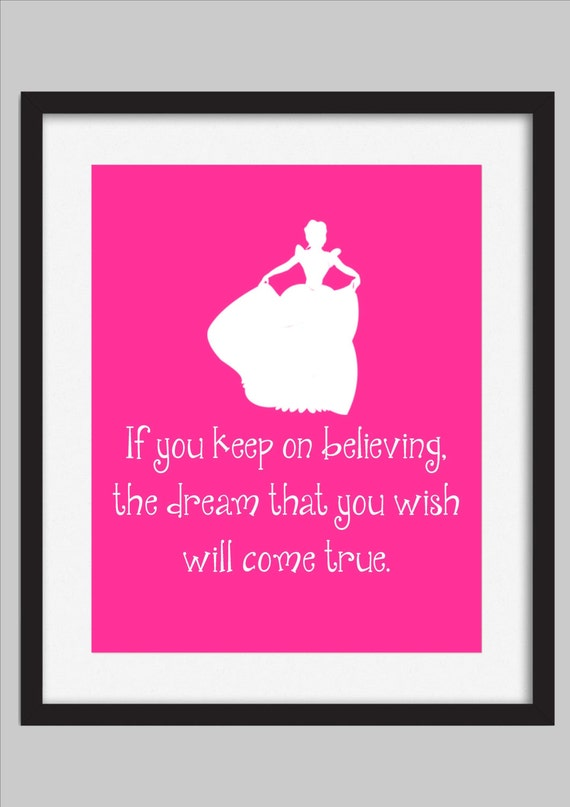 Items Similar To Cinderella Quote Print Disney Girls Room
