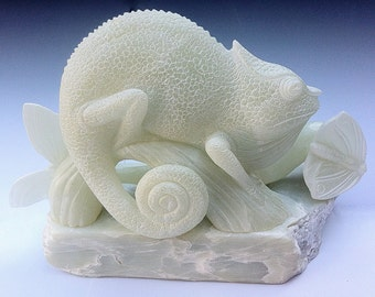 Chameleon Soapstone carving  carved by Clare McFarlane