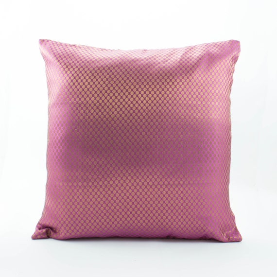 Decorative throw pillow cover 18x18, Rose pink with gold dots Silk Pillow.