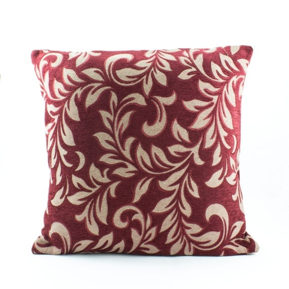 Dark Red Decorative Pillow : Decorative throw pillow cover 18x18 Dark Red Pillow by Fabricasia