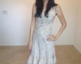 Grunge Dress Floral Long Dress Small Fitted Tea Dress