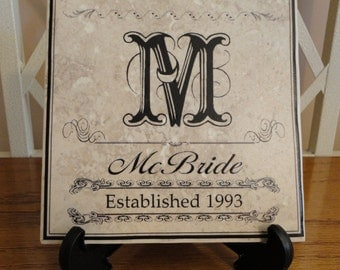 Personalized NAME, Family, Wedding, New Home, Tile. Monogram. Create Your Own Design.