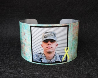 MILITARY Photo Cuff Bracelet - Bangle - Custom - Grandchildren - Pets - Sister - Teacher - Best Friend
