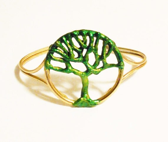 Green Tree of Life Bronze Bracelet