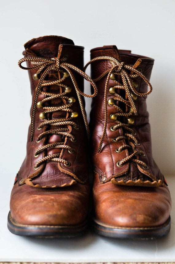 Mens Brown Lace Up Combat Boots Size 10.5