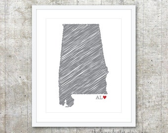 State of Alabama Art Print - AL USA State - Custom State Love Poster - Slate Grey Red Heart - Modern Wall Art