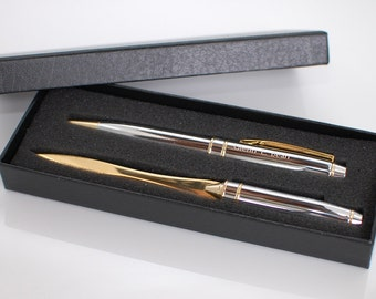 Engraved pen set - Personalized pen gift set  -Chrome brass ballpoint pen & matching letter opener
