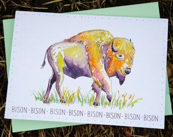 Watercolor Bison Card, 5x7, Handlettered, Watercolored, Mint Green Envelope, Blank Inside