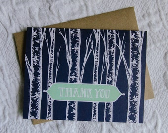 Navy Aspen Thank You Card, 4.25x5.5, Handlettered, Paper Bag Envelope, Blank Inside