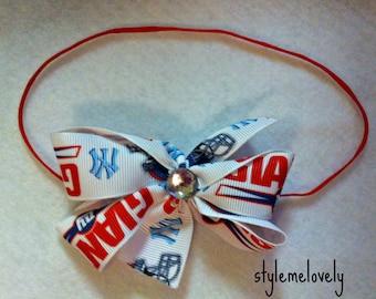 New York Giants Baby Girl Boutique Bow Elastic Headband