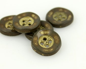 Metal Buttons - Yellow Rendering Wavy Edge Gunmetal Metal Hole Buttons - 11mm - 7/16 inch - 6 pcs
