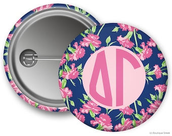 DG Delta Gamma Floral Sorority Greek Button
