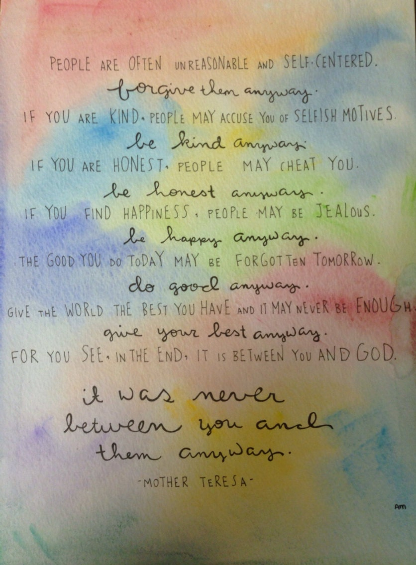 8x10 Print Of Mother Teresa Do It Anyway Poem By