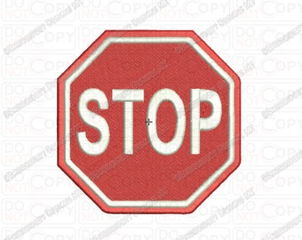 Stop Sign Road Sign Embroidery Design in 2x2 3x3 4x4 and 5x7 Sizes