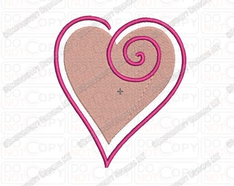 Heart Swirl Outline Embroidery Design in 1x1 2x2 3x3 4x4 and 5x7 Sizes