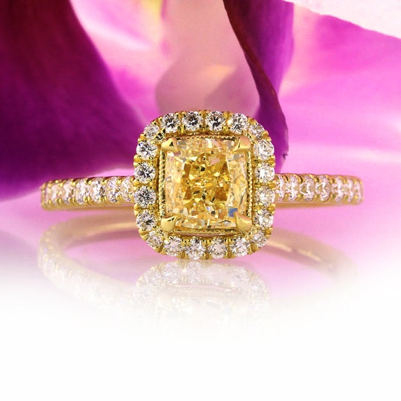 1.83ct Fancy Vivid Yellow Cushion Cut Diamond Engagement Anniversary Ring