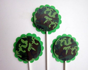 Camouflage Cupcake Toppers - Camo Army Cupcake Toppers