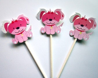 Puppy Party Cupcake Toppers - Pink Puppy