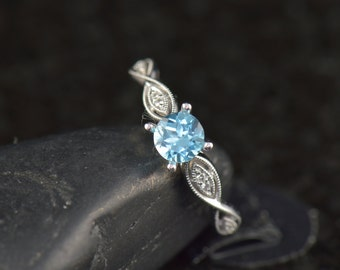 Ciara - Blue Topaz and Diamond Engagement Ring in White Gold, Round Center with Diamond Wavy Wall Band and Beaded Milgrain, Free Shipping