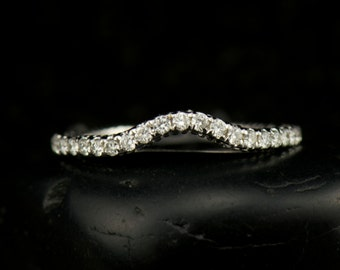 Kate - Diamond Wedding Band in White Gold, Round Brilliant Cut, Shared Prong Set with Milgrain, 1/2 Eternity, Fit Flush, Free Shipping