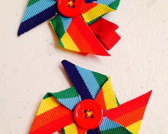 Rainbow Ribbon Pinwheel Sculptures with Button Centers - Pigtail Set