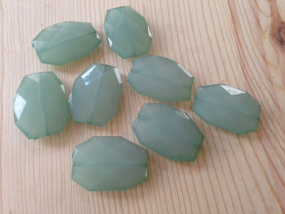 CUCUMBER Mint Green- 34x24mm Large Translucent Faceted Acrylic Flat Nugget Beads- 10 pcs