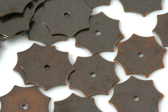 100 Pcs Antique Copper Tone Brass 13 mm hexagonal Circle tag Charms ,Findings 901AC-46