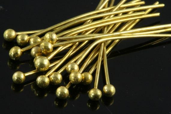 Ball head pin 200 pcs 35 mm 24 gauge( 0,55 mm ) raw brass  Head Pin Ball end 3524HB