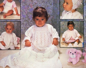 Crowning Achievement baby layette dress  vintage knitting pattern PDF instant download