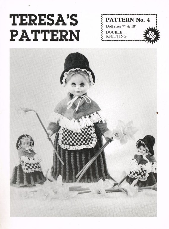Knitting Pattern For Welsh Doll : Welsh doll lady toy vintage knitting pattern PDF instant ...