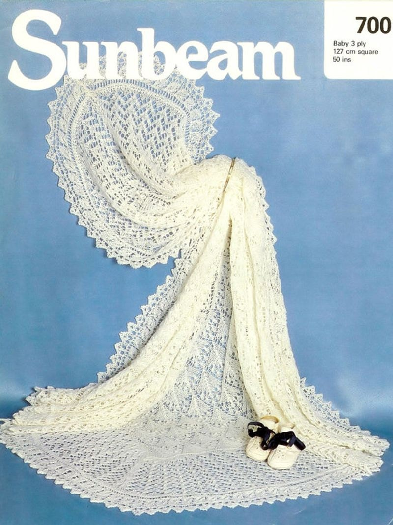 Knitting Pattern For Christening Shawl Free : Sunbeam 700 baby shawl vintage knitting pattern christening