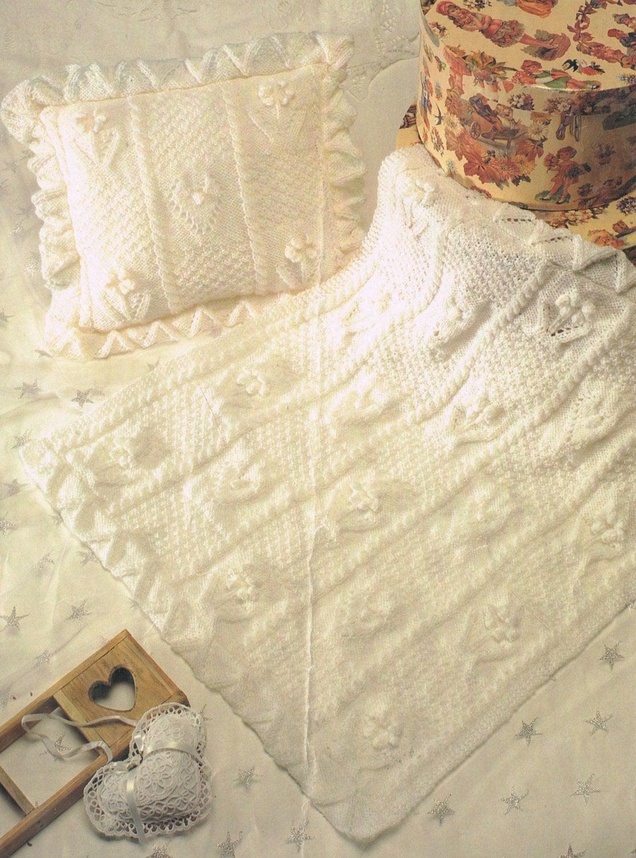 Vintage Baby Blanket Knitting Patterns : Baby pram blanket and cushion cover vintage baby knitting