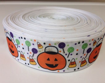 Halloween Pumpkins Candy Corn Hair Bow Ribbon-Orange, Yellow White-Crafting Ribbon By the Yard-grosgrain-1.5 inch
