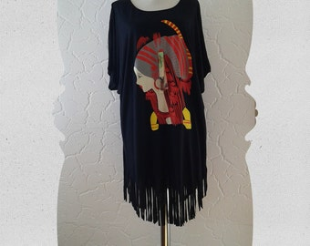 black , colourful  , tribal, tassel, tunic dress , half sleeve,loose flowing,bohemian,oversize,L-XL-2XL