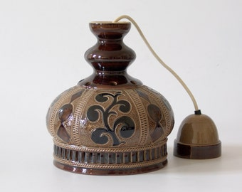 Vintage oriental lamp 70s ceiling light hanging lamp brown black ceramic ornaments