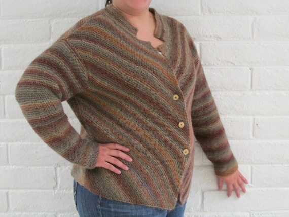 Hand Knit Women Sweater Plus Size Brown Knitted Jacket