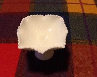 Vintage-antique Milk glass compote.