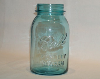 Vintage Ball Perfect Mason Quart Round  6 Blue Glass Canning Jar. mvpc 65
