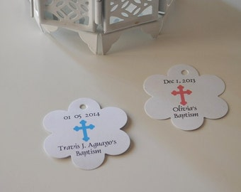 Baptism Favor Tag ,Religious, Christening favor tags ,CROSS Favor Tags  for Boys and Girls Personalized Christening gift tags   /Set of 30